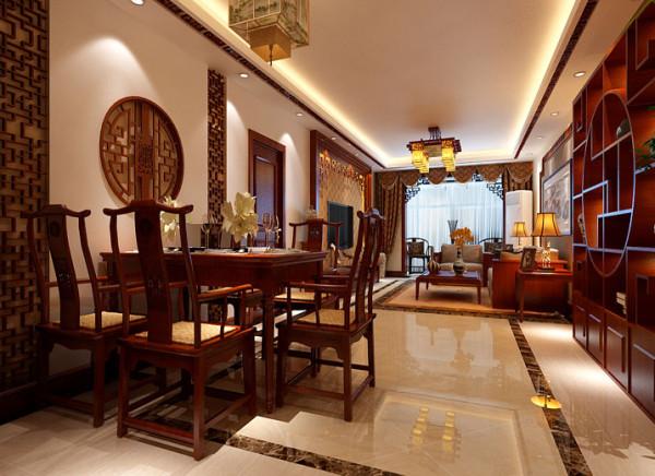 客餐厅庄重大气的客厅设计理念:以一些简约的造型为基础,添加了中式元素,使整体空间感觉更加丰富,大而不空、厚而不重,有格调又不显压抑。