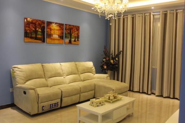 100平米清新地中海风格装修实景照片,人工+辅料+主材+家具+灯具+水电+窗帘,一共119900元