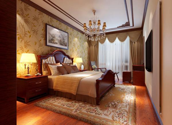 卧室在色彩方面秉承了传统古代风格的典雅和华贵,但与之不同的是加入了很多现代元素呈现着时尚的特征。在配饰的选择方面更为简洁,少了许多奢华的装饰,更加流畅地表达出传统文化中的精髓。