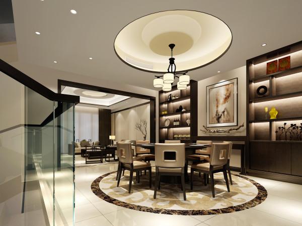 顶面造型、餐桌、地面拼花想呼应,酒柜造型简单,以古玩、饰品加以点缀,成为餐厅一大亮点。
