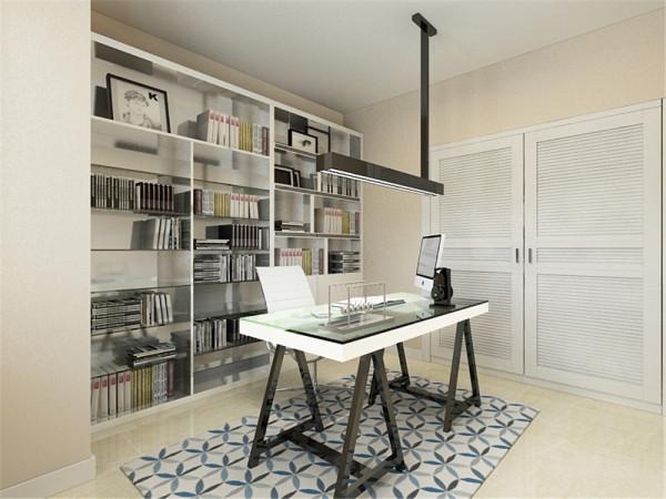 书房根据墙体结构设计书柜的造型,整体色调简洁明快,不会显得沉闷,是一个适合安静学习的好地方。