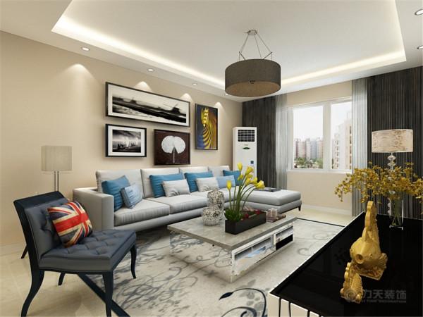 客厅设计采用简约明朗的线条,回形吊顶将空间进行了合理的分隔,增加了空间感,墙面采用奶咖色墙漆让业主可以释放工作中的压力,得到纯粹的放松。电视背景墙的设计更是体现了现代简约的性格特点。