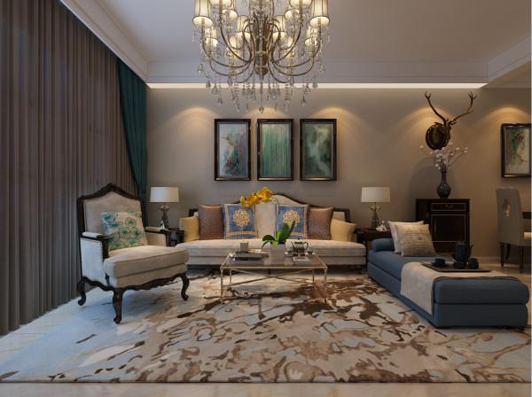 合肥生活家装饰巴黎都市105平米三居美式风格——客厅装修效果图      设计理念:美式家居风格 一直追求舒适、实用与温馨,与繁琐的欧式装饰元素不同的是, 美式风格线条更加简练、自然。
