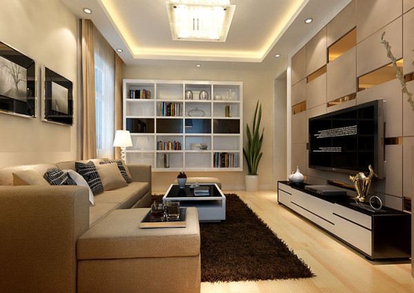 鑫都会业主家的电视背景墙采用铁制构件,将玻璃、瓷砖交错在一起,以简洁的造型、纯洁的质地、精细的工艺配上黑白灰电视柜营造出了一种轻松时尚前卫的感觉,从而也体现出现代简约的装修风格。