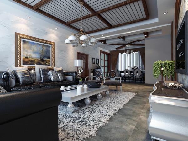 美式家具的最大特点就是混搭,没有混搭,可以说就不算真正的美式。大普的黑色皮质沙发及餐椅,简单大气。裸露的梁,简洁不同拼接形式的直线装饰线条,让整个吊顶充满新意。