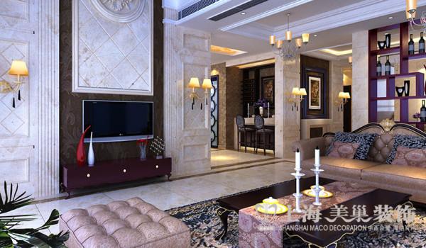 新古典设计银基王朝复式家居装修——客厅电视背景墙