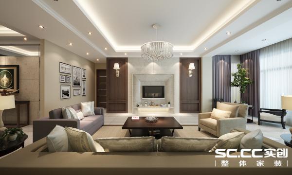 电视背景墙用了大理石与木纹,体现了木纹的肌理感和沙发的色调和谐。过道的黑白挂画成了一道风景。