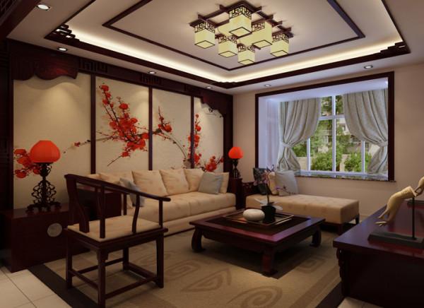 亮点:客厅顶面搭配实木线条装饰,地面运用的材料为暗花石材铺设。羊绒地毯、实木茶几,大理石飘窗,一杯淡雅的绿茶……一种享受生活和对中式文化理解的一种态度就这样表现出来!