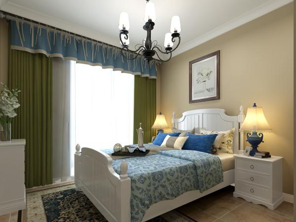天骄华庭 89平两居室 简约美式田园风格装修设计案例 效果图-卧室