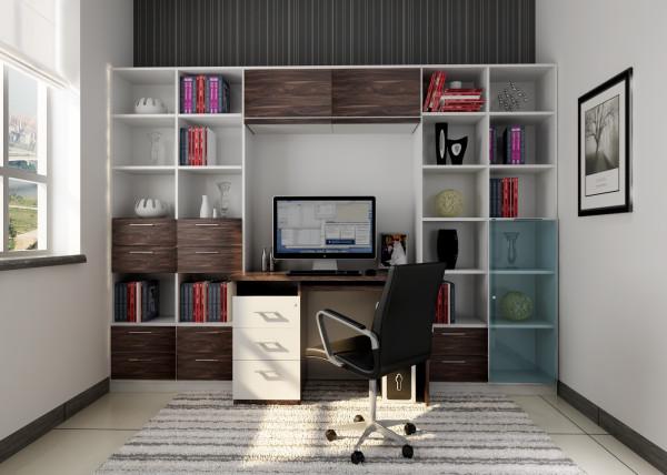 泰和苑 90平三居室 现代风格装修设计案例 效果图-书房