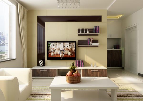 泰和苑 90平三居室 现代风格装修设计案例 效果图-客厅电视背景墙