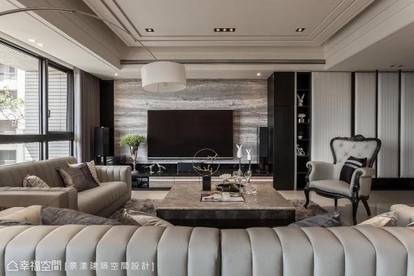 电视墙以普罗旺斯洞石为基底,平淡的横向纹理铺陈,相融于客厅的情境之中。