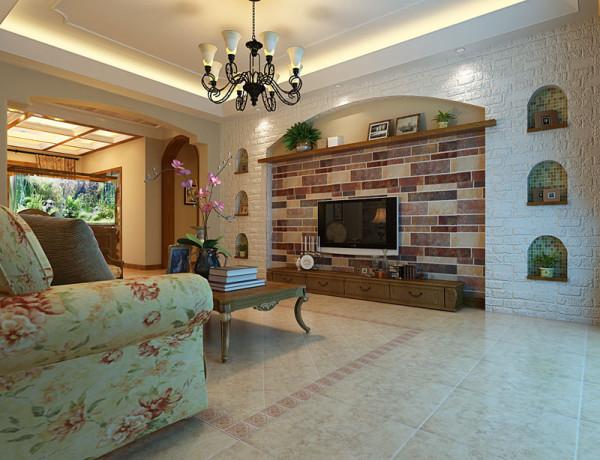 美式风格别墅装修客厅电视墙