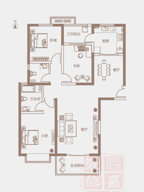 开祥御龙城D6户型户型143.6平方装修方案效果图
