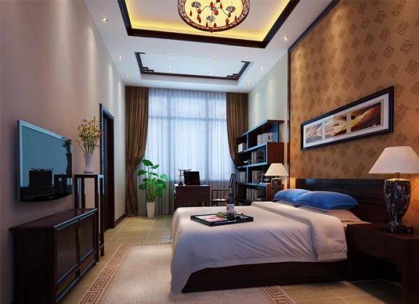 儿子的房间沿袭了整体的古典品味,整个空间没有中式元素,但却给人一种中式禅意的意境,追求一种精神上的享受。极具现代感造型的灯具以及床体,在用色方面极力配合意境深远的挂画,给人一种典雅的尊贵气质。