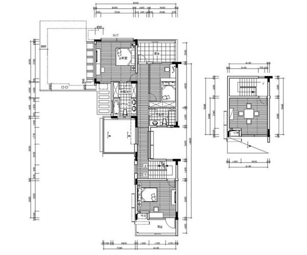 普罗旺世别墅装修新中式风格设计——二楼平面布局图
