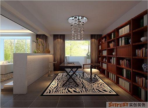 房通过大的吧台与客厅联通,打破了原有单调的布局,让空间变得豁然开朗,这里是男主人偶尔工作的地方,但更像是一片浩瀚的海洋。书柜的设计简约大气,也为客厅角度增加了一个大的亮点。