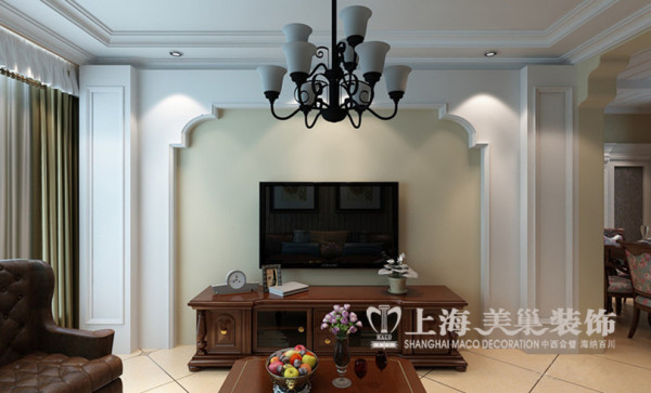 美式混搭设计托斯卡纳复式样板间——客厅电视背景墙