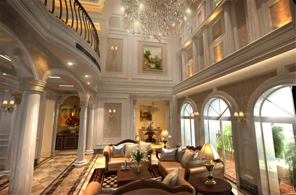 圣安德鲁斯挑空别墅户型装修欧美风格设计方案展示,腾龙别墅设计师戴健作品,欢迎品鉴!