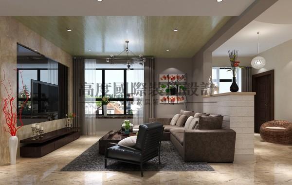 【高清】桐梓林装修140㎡案例 客厅装修 成都高度国际装饰设计