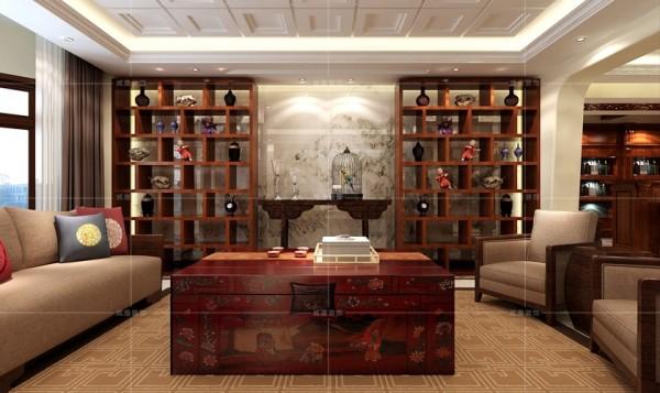 红木博古架与贡桌弥补了背景墙的空白,同时体现出屋主的品味与修养