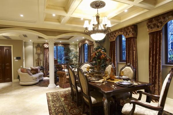 欧式别墅客厅卧室餐厅厨房
