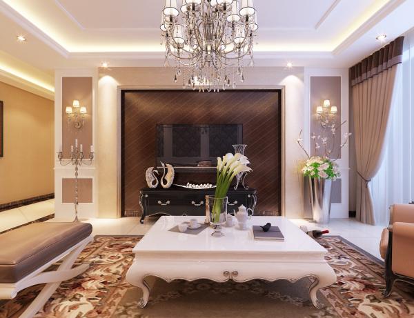 石家庄小区【万国园星州美域】客厅电视墙装修 电视背景墙采用对称手法,中间木地板做造型,使用最简单的欧式元素来表达出欧式风格。