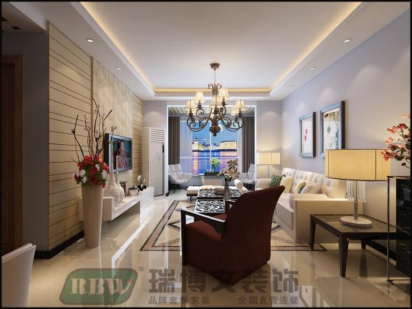 电视背景墙用壁纸与石膏板相结合,使客厅更加简洁、时尚。