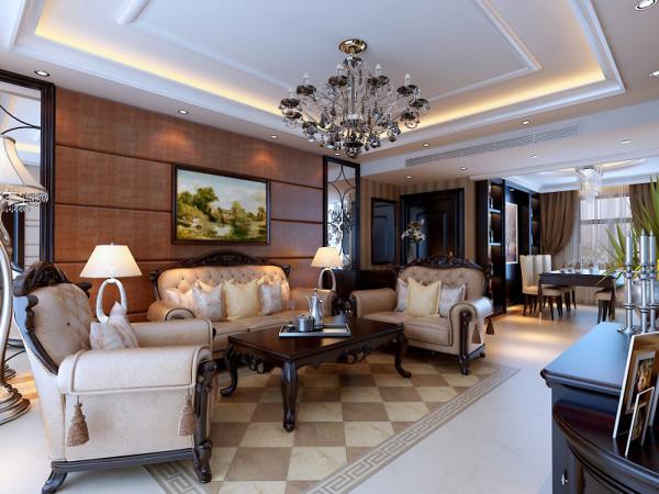 客厅: 温馨典雅沙发包裹着不可抗拒的时尚魅力,洁白的纱帘轻松隔离外界的喧嚣,打造完美的饭后休闲时光。 亮点:漂亮的地面拼花彰显主人高贵的品味。