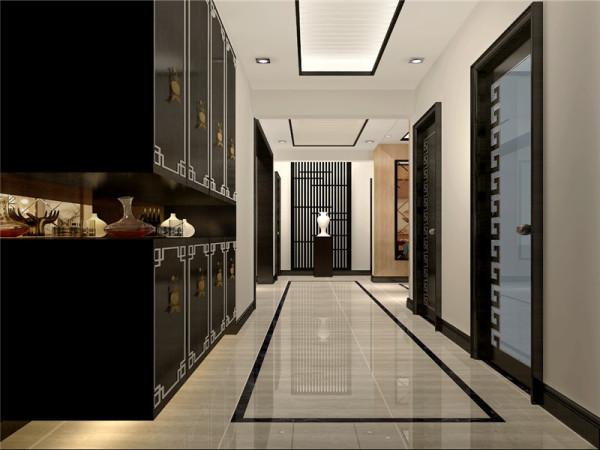 入门处玄关用镂空木条做装饰,突出了本案的设计理念