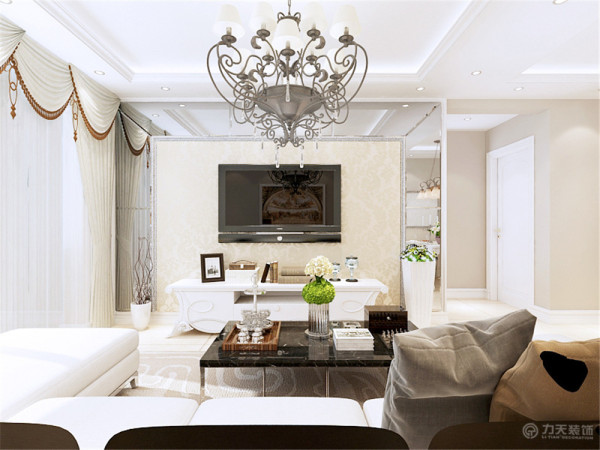 本案为碧桂园两室两厅一厨一卫91㎡户型,和业主最后拍定将本案定义为简欧风格,客厅和餐厅都使用回字形发光灯池吊顶来诠释。