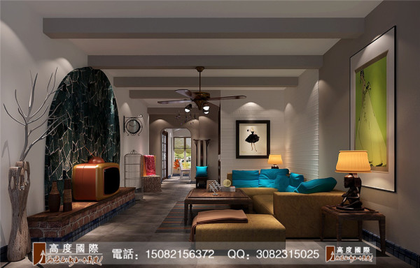 中建桐梓林客厅细节效果图----高度国际装饰设计