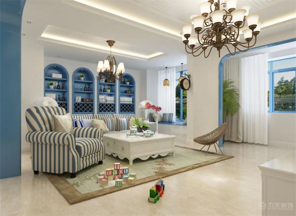 """本次案例为保利香颂园三室一厅一厨一卫面积120平米,设计风格为地中海风格,地中海风格的灵魂,目前比较一致的看法就是""""蔚蓝色的浪漫情怀,海天一色、艳阳高照的纯美自然""""。"""