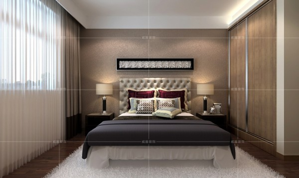 宽大的床榻搭配地毯营造出温馨舒适的睡眠环境