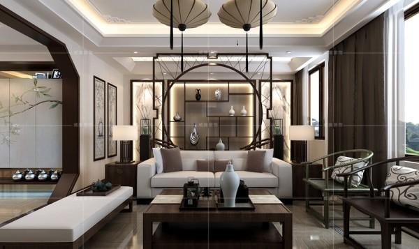 拱门式隔断将博古架与客厅分隔开,增添了整个空间的纵深感