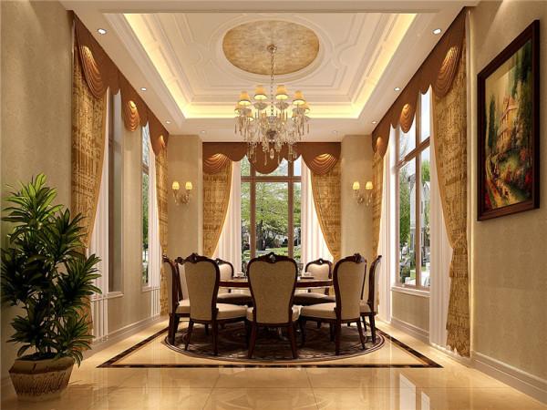 一层餐厅:墙面用高档壁纸,或优质乳胶漆,以烘托餐厅豪华效果。