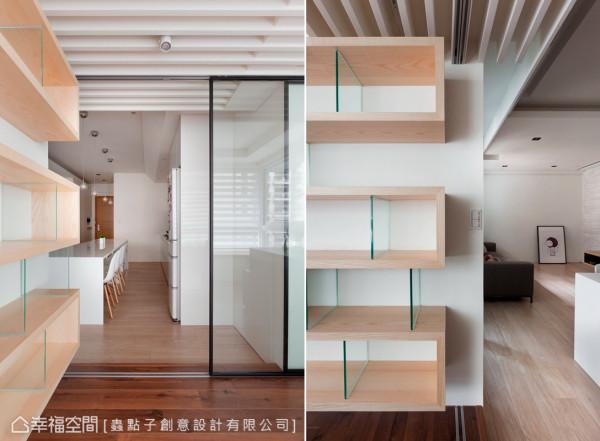 简约利落的书柜设计,以线条来作主题的勾勒,让创意美感与机能性兼具。
