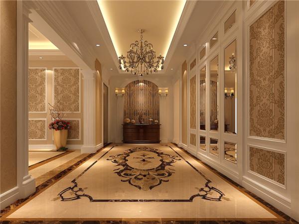 一层门厅:强调表面装饰,多运用高档壁纸,具有丰富华丽的效果。