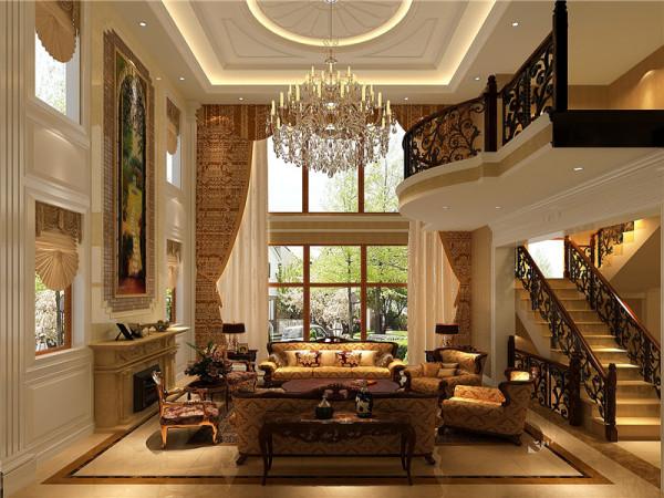 一层客厅:欧式客厅顶部喜用大型灯池,并用华丽的枝形吊灯营造气氛。