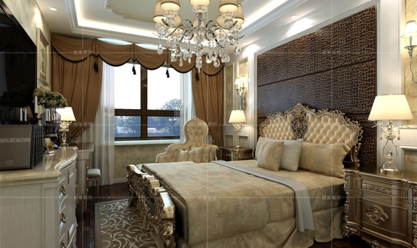 欧式壁灯与床头板点染出浪漫的气氛