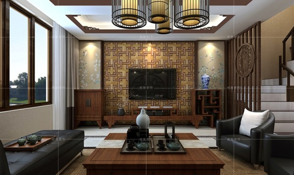 木质电视柜与皮质沙发的结合大胆而巧妙,满足现代人的审美与生活需求