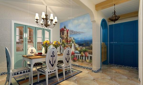 地中海风情的壁画将用餐环境妆点的浪漫而唯美