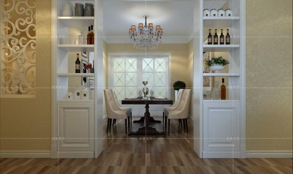 酒柜巧妙地起到了隔断的作用,将客厅与餐厅分隔开,增加空间的层次感