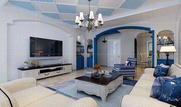 空间整体以深蓝与米白为主,以简单的色彩勾勒出浪漫的地中海风情