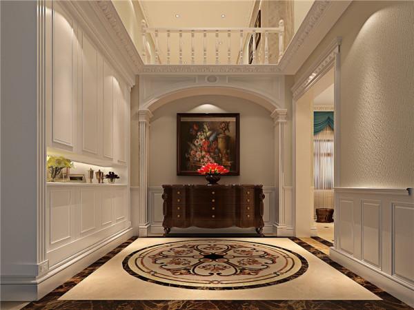 用简化的手法、现代的材料和加工技术去追求传统式样的门厅大致轮廓特点。