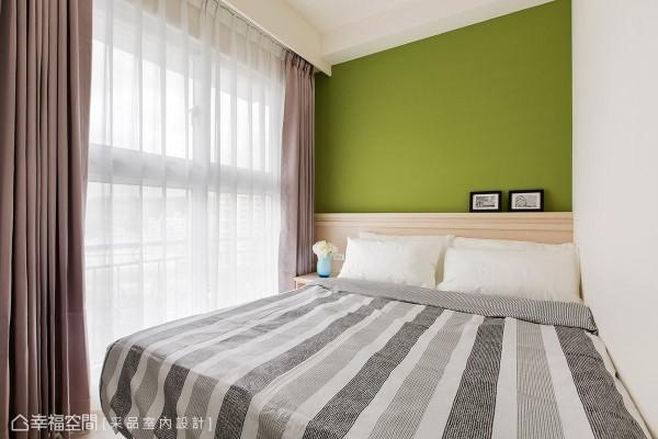 次卧室的主题色彩则选用清脆的草绿色做铺陈,形塑鲜明活泼的空间表情。