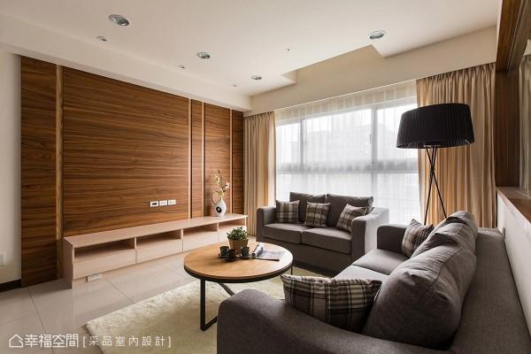 电视主墙采用深木色质材做呈现,局部搭接浅木色线条,增添立面的设计层次。