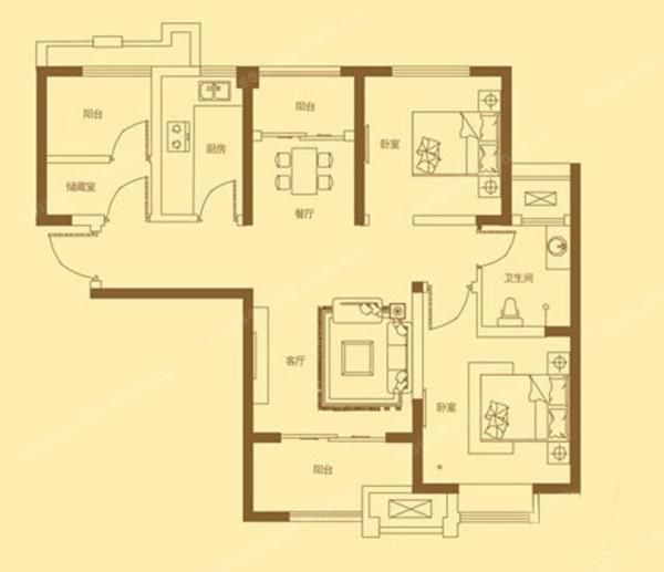 绿都温莎城邦95平方三室两厅户型方案平面图-美巢装饰
