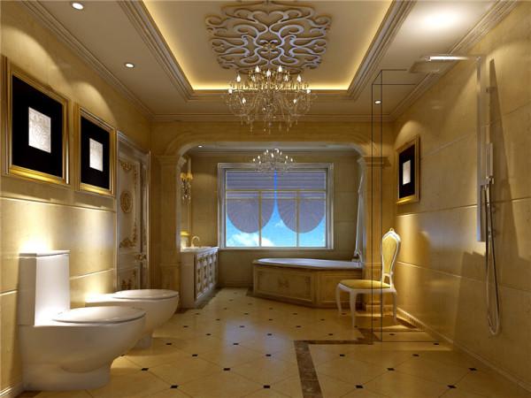 卫生间采用欧式壁纸、大理石等,强调了稳重、华贵与舒适。