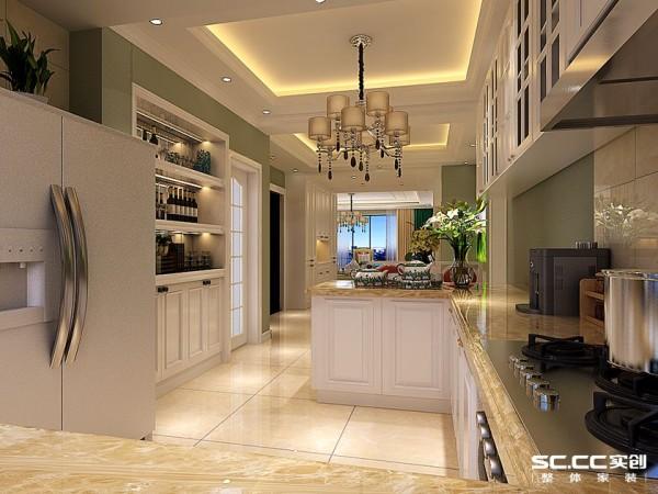 让厨房直接和餐厅相连,直接做成吧台,让用餐区域变大,给人一种大气豪华的感觉